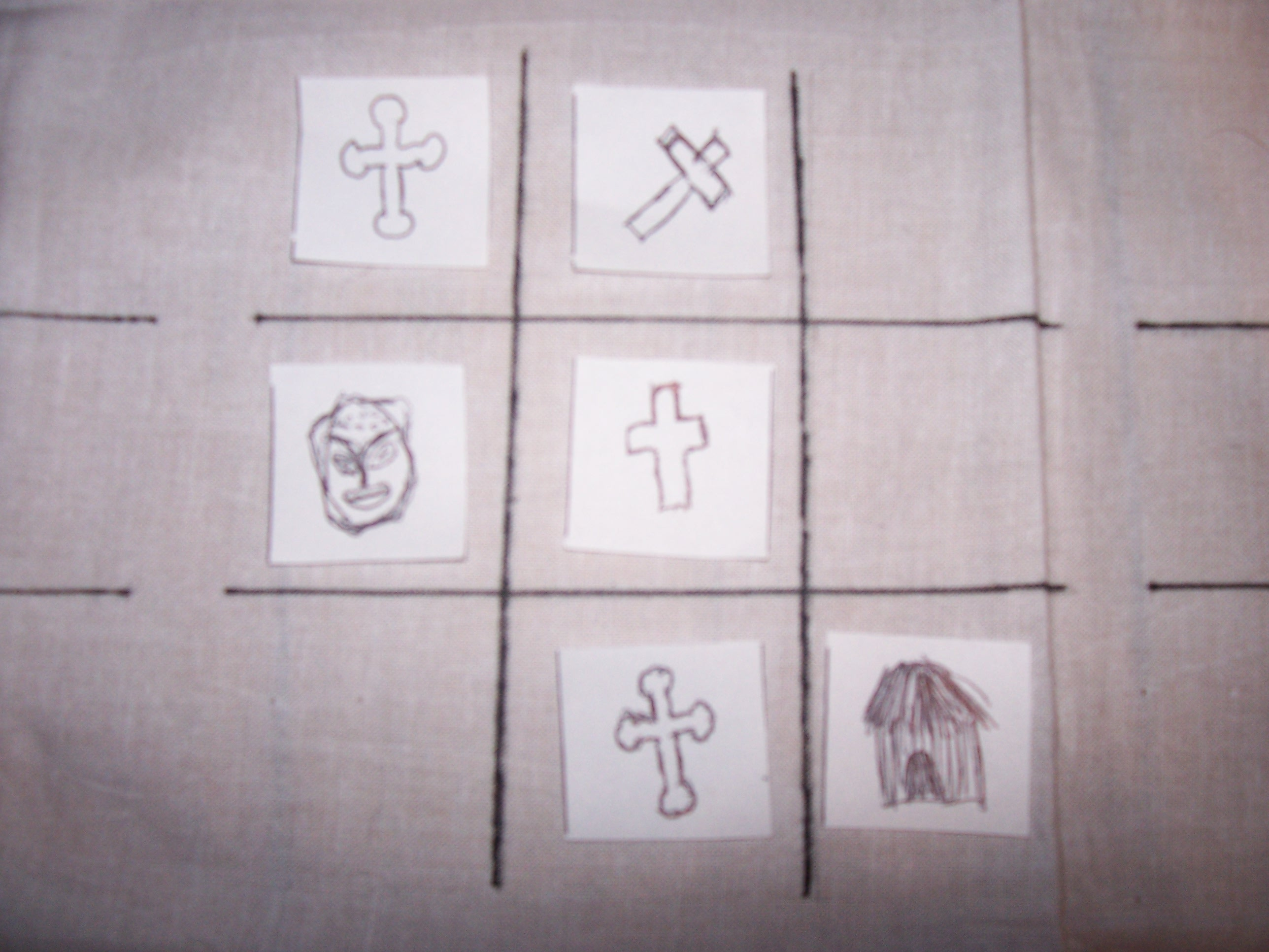 picture of colonial tic tac toe board one